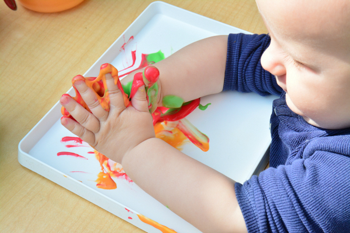 Homemade baby finger paints at How we Montessori-2