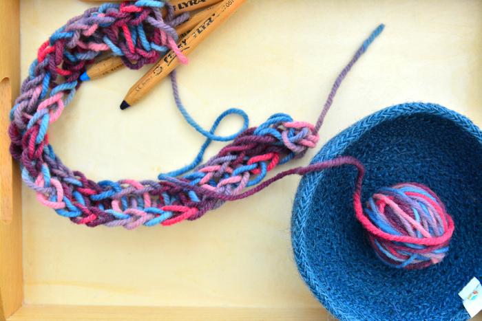 Finger Knitting at How we Montessori  four fingers