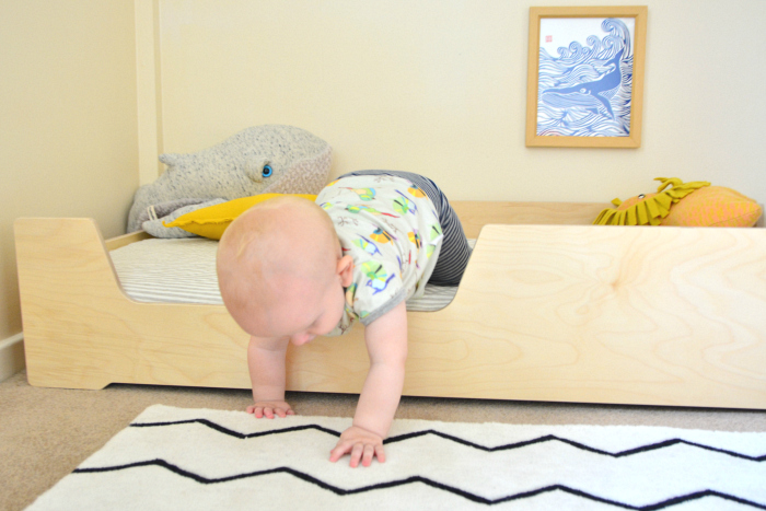 Otto floor bed with scoop side at How we Montessori
