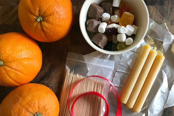 Ingredients and materials for Christingles at How we Montessori