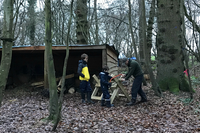 Caspar and Otis at Forest School with Otto 2018 Learning to use the saw