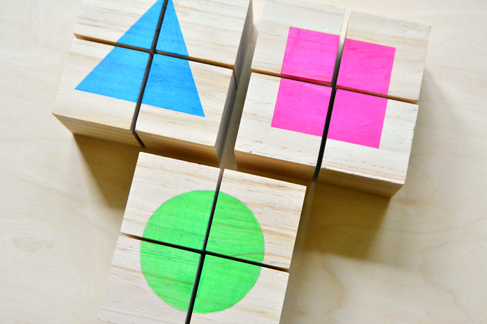 DIY shape cube toddler puzzles at How we Montessori