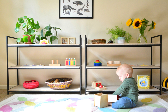 Beautifully organised shelves at How we Montessori  Montessori baby shelves