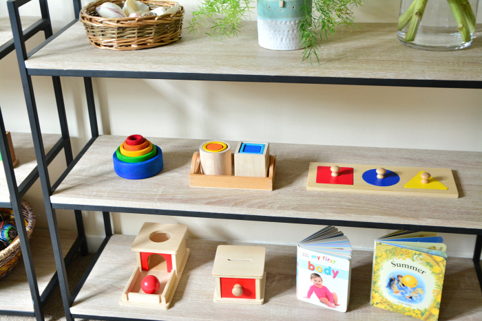 Beautifully organised shelves at How we Montessori  Montessori baby shelves