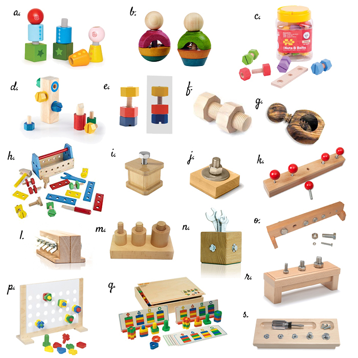 Nut and bolt  screw toys at How we Montessori toddler to preschooler