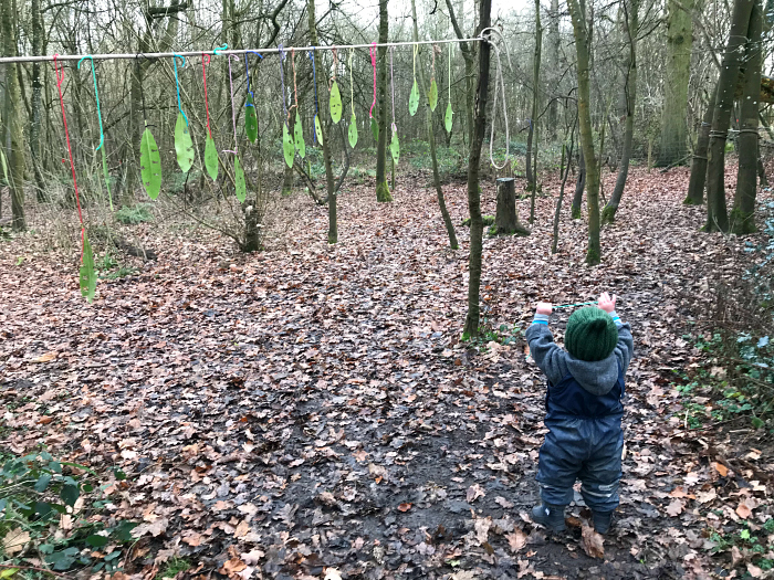 Forest School leaf mobile at How we Montessori forest school 2019