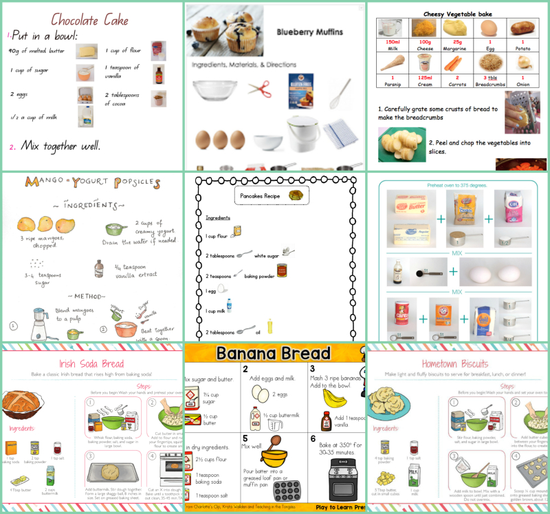 Pictorial and illustrated recipes for kids at How we Montessori