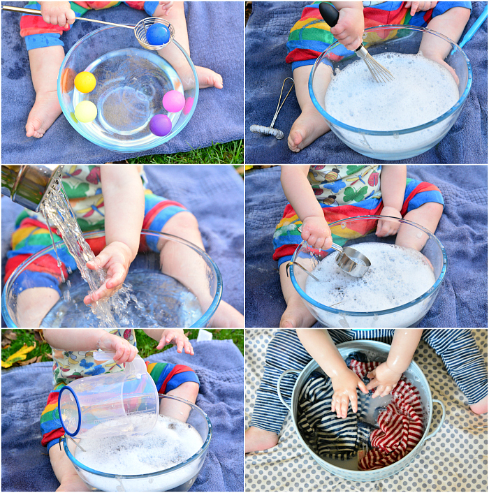 Sensory Water Play for Babies at How we Montessori