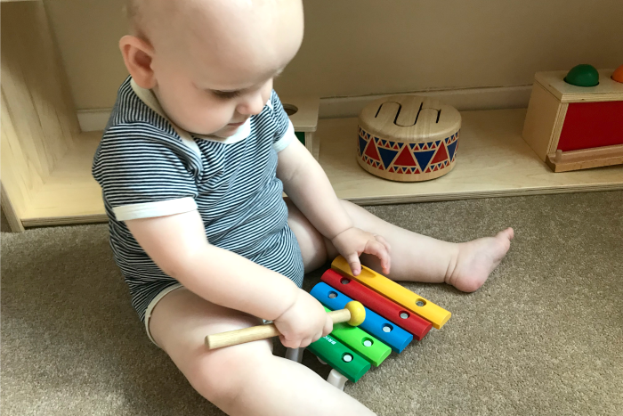 Otto xylophone 10 months at How we Montessori