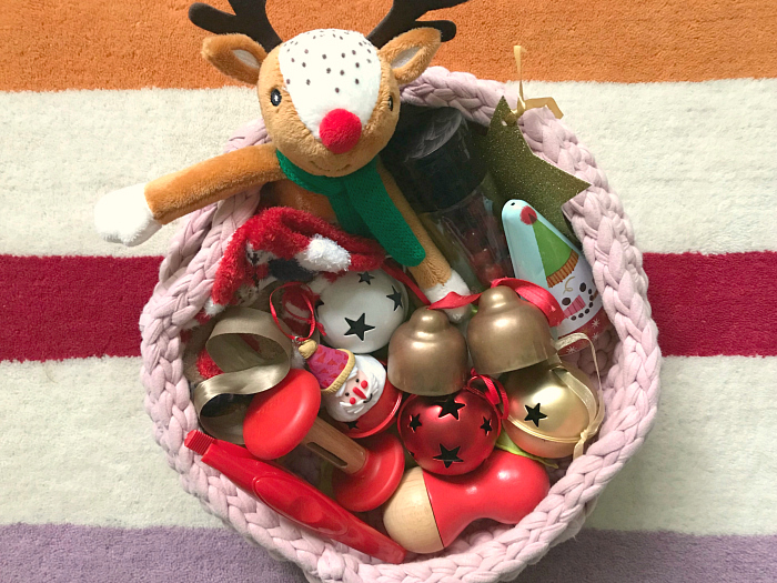 How we Montessori Christmas Themed Treasure Discovery basket