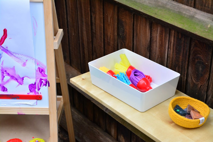 Paint texture wands at How we Montessori toddler art materials