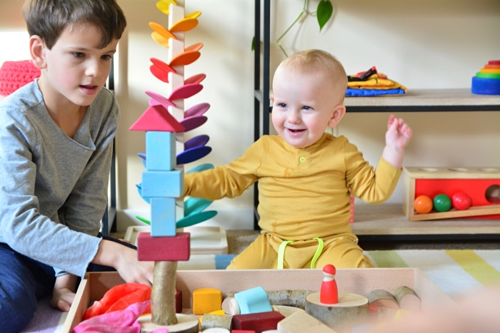 Toddler Block Play Otto at How we Montessori 15 months