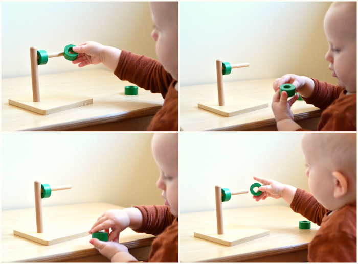 Montessori toddler green horizontal stacker disc on dowel at How we Montessori