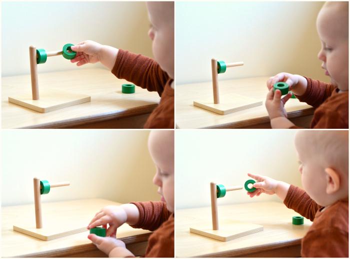 Montessori toddler green horizontal stacker disc on dowel at How we Montessori