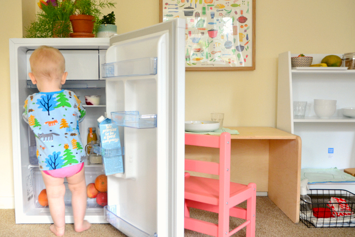 Montessori toddler kitchen area at How we Montessori 2019