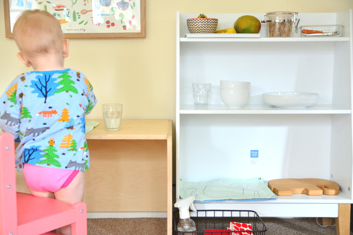 Montessori toddler kitchen area at How we Montessori 2019