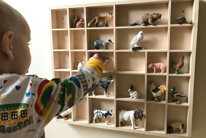 Wall display of schleich animals at how we montessori 2019