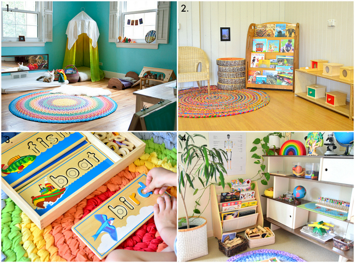 Rainbow rugs in Montessori spaces at how we montessori