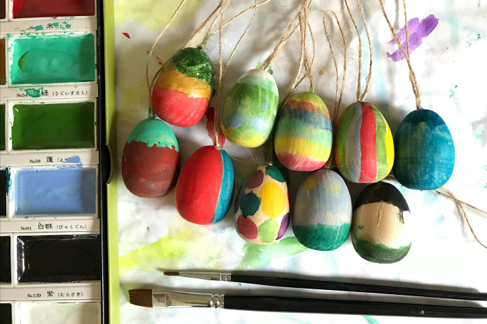 Wooden Hanging Eggs for Easter at How we Montessori