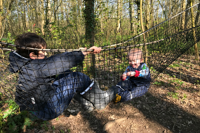 Otto st Forest School April 2019 at How we Montessori  in cargo net