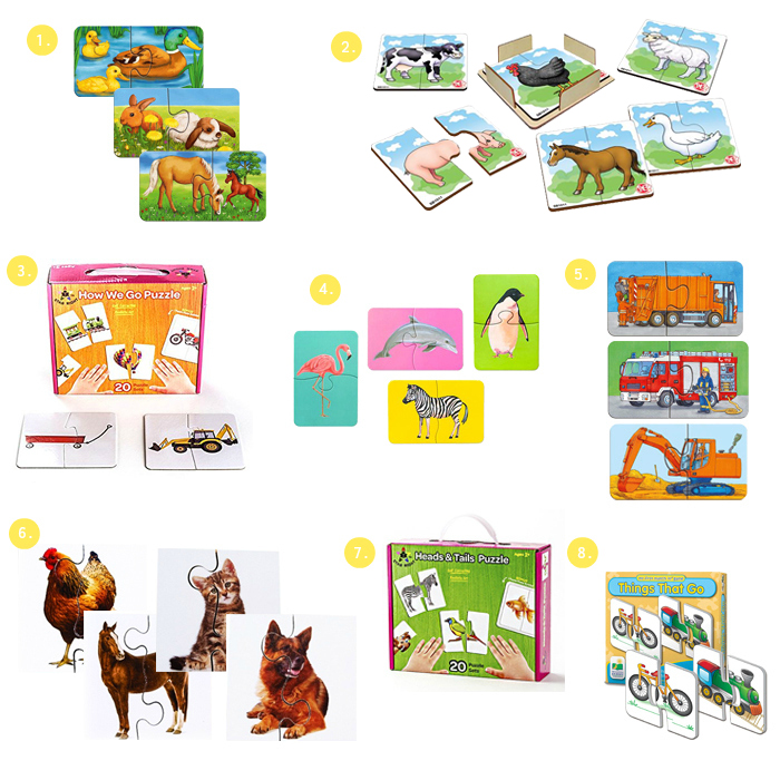 Realistic and Montessori Style Two Piece Puzzles-2019 at How we Montessori