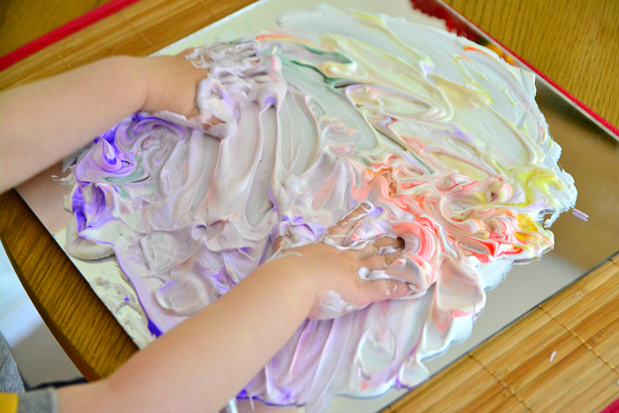 Otto toddler art at How we Montessori   acrylic sheet painting