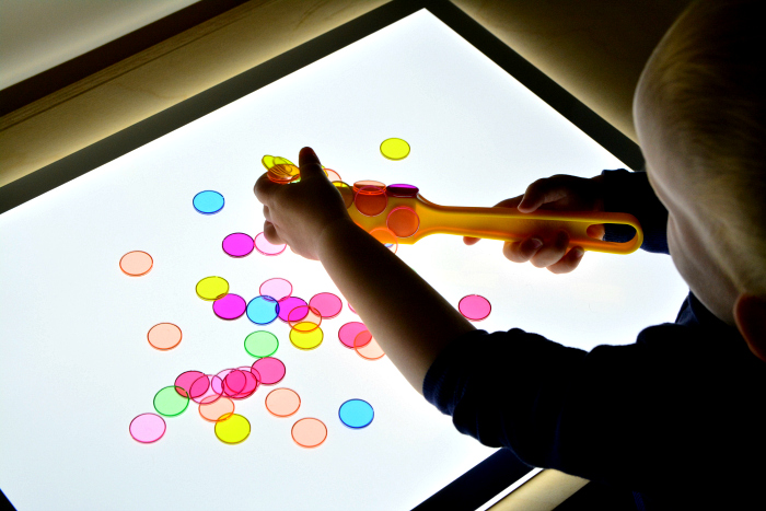 How we Montessori light table  colour mixing at 20 months  Montessori toddler