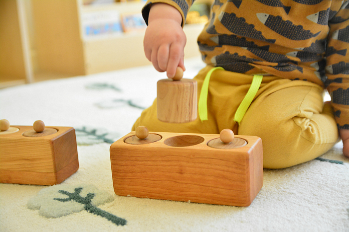 Toddler Cylinder Blocks at Heirloom  Kids  Otto 20 months at How we Montessori