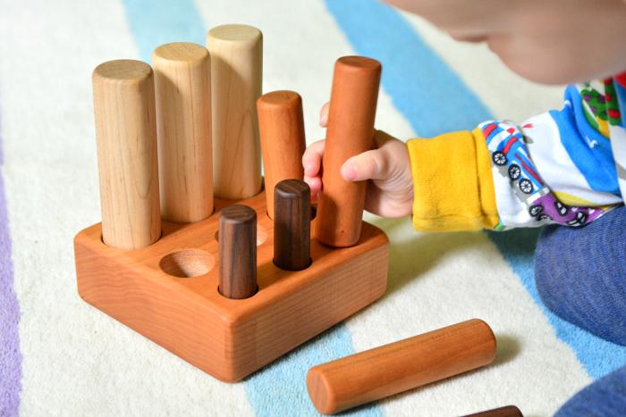 Toddler Cylinder Blocks at Heirloom  Kids  Otto 20 months at How we Montessori