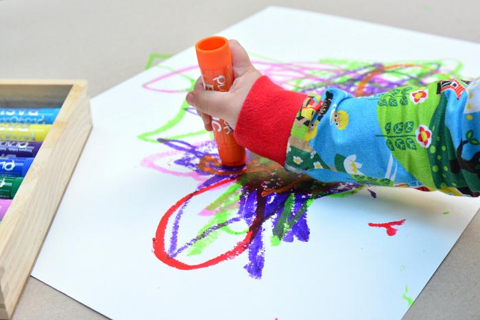 Montessori toddler art  paint sticks at How we Montessori