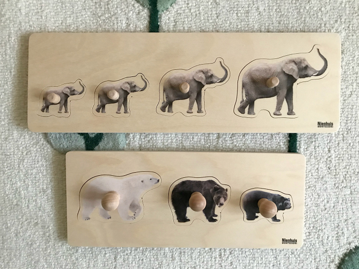 Otto new puzzles at 18 months at How we Montessori  bears and elephants