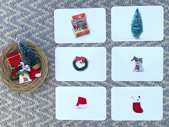 How we Montessori matching Christmas items for toddlers miniatures