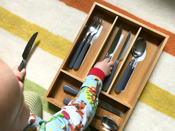 Sorting cutlery tray at How we Montessori toddler practical life activity for 23 months
