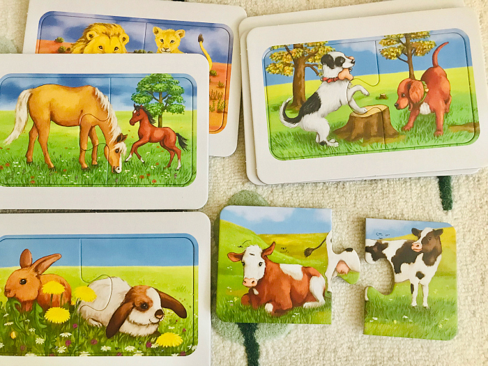 Two part animal puzzles at How we Montessori  first jigsaw puzzle