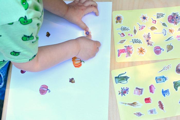 Montessori toddler autumn stickers at How we Montessori  Otto24 months