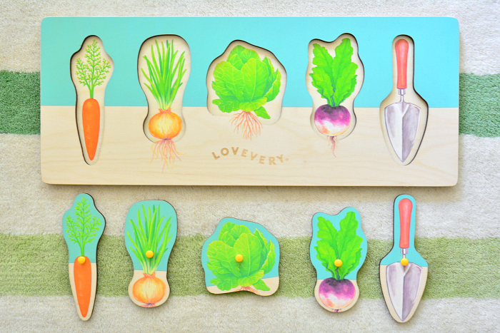 Lovevery Montessori puzzle at How we Montessori  garden puzzle for toddlers