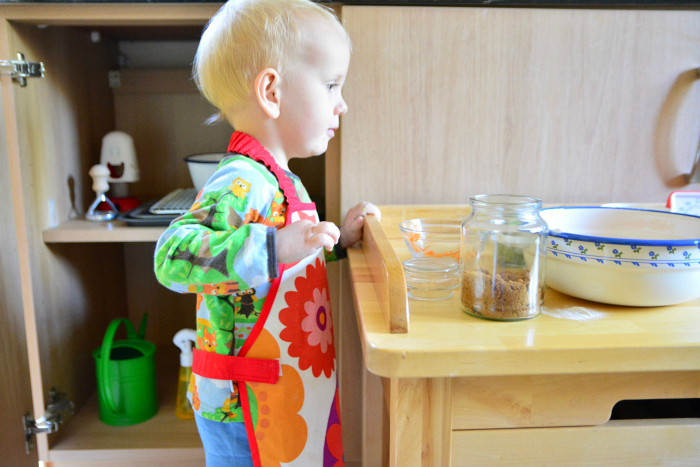 Montessori toddler baking shelves at How we Montessori  Otto 24 months