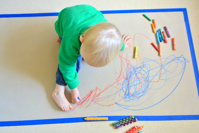 Encouraging Mark Making Toddler at 24 months  two years at How we Montessori