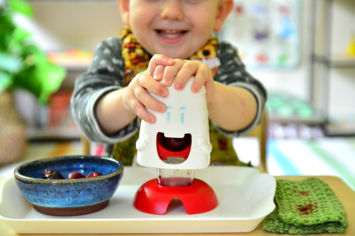 Otto cherry chopper at 21 months at How we Montessori toddler food prep