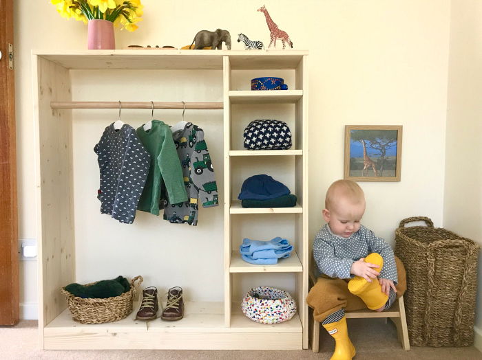 How we Montessori toddler wardrobe  dressing space at 17 months