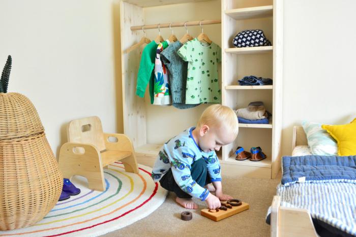 Montessori toddler dressing area at How we Montessori