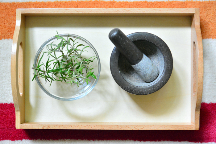 Mortar and Pestle herb work Montessori toddler at How we Montessori  Rosemary