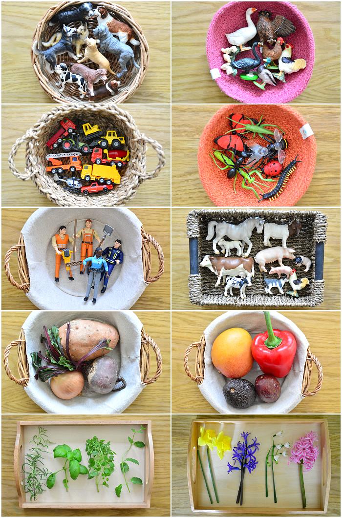 Language baskets at how we montessori at 18 months