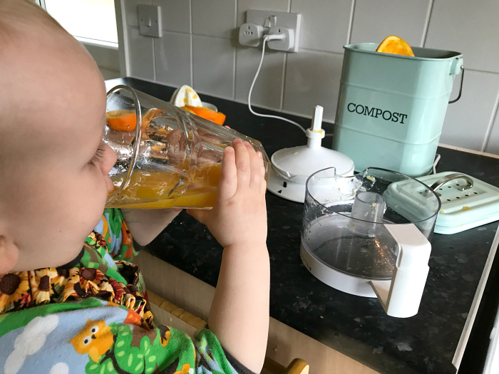 Otto making juice at 18 months