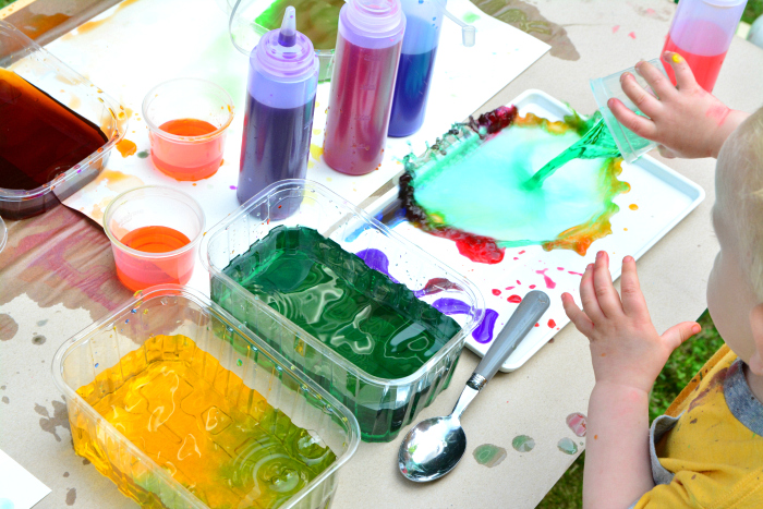 Montessori toddler learning colours at How we Montessori  water colour play  Otto 21 months