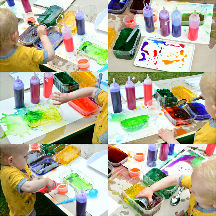 Montessori toddler water colour play at How we Montessori  Otto 21 months