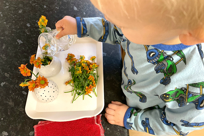 Flower arranging pouring with pitcher montessori practical life at 25 months at how we montessori
