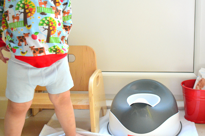 Otto toilet learning at 22 months at How we Montessori  putting on clean underwear