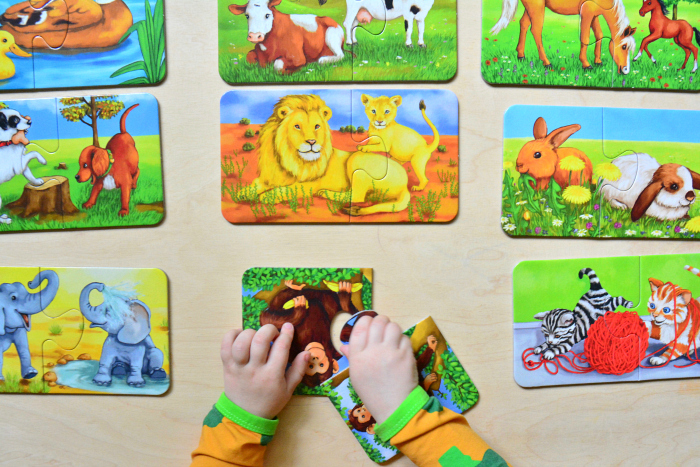 How we Montessori two piece puzzles  first jigsaws at 25 months  two year old animals