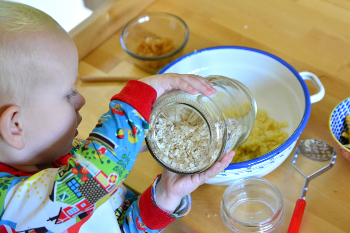 Montessori toddler skills  Otto 22 months at How we Montessori pouring - without spilling